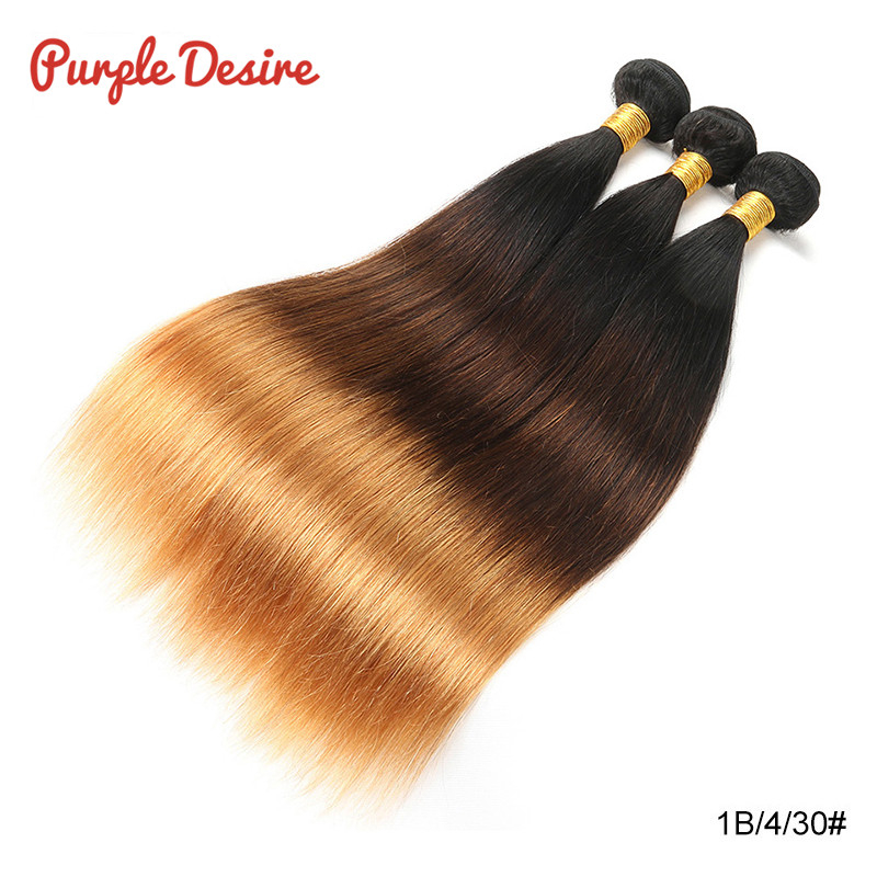 Brazilian Straight Hair T1B / 4/30 Ombre Human Hair Weave Bundles 1/3 Stykker 8-26Inch Honey Blonde 3 Tone Real Remy Hair Extension