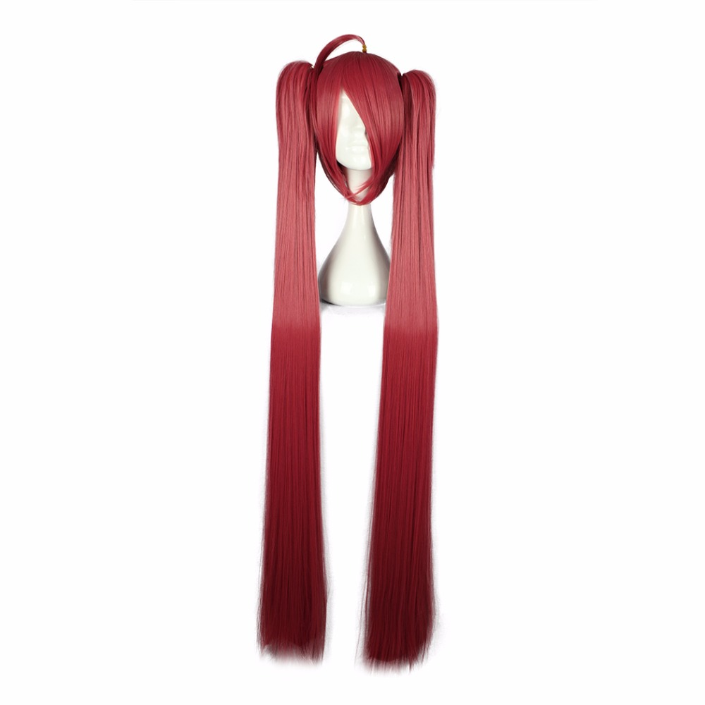 MCOSER 130 CM Long Straight Synthetic Cosplay Hair With Two Ponytails Red Color 100% High Temperature Fiber WIG-556D ...