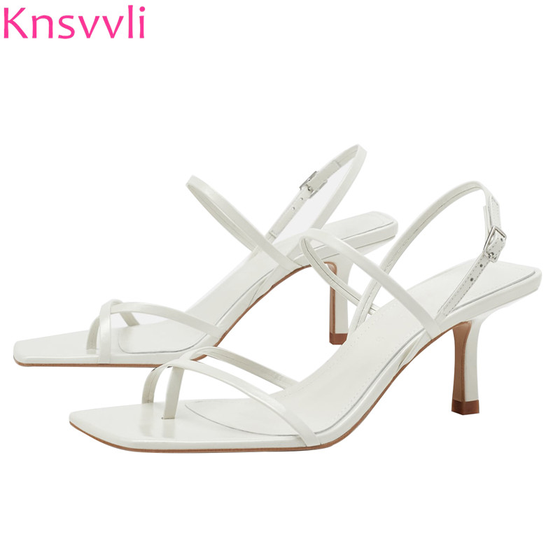 Knsvvli New White High Heels Sandals Women Cross Narrow Band Summer Shoes Woman Flip Flops Back Strap Fashion Sandalia Feminina