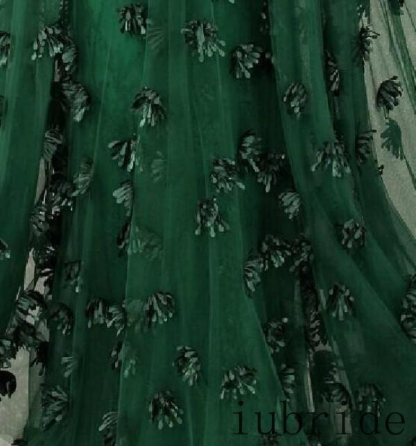 2015 Zuhair Murad Formal Evening Dresses Emerald Green Tulle Cap Sleeve  Flowers Celebrity Dress Arabic Special Occasion Gowns-in Evening Dresses  from ... dbd2e0730070