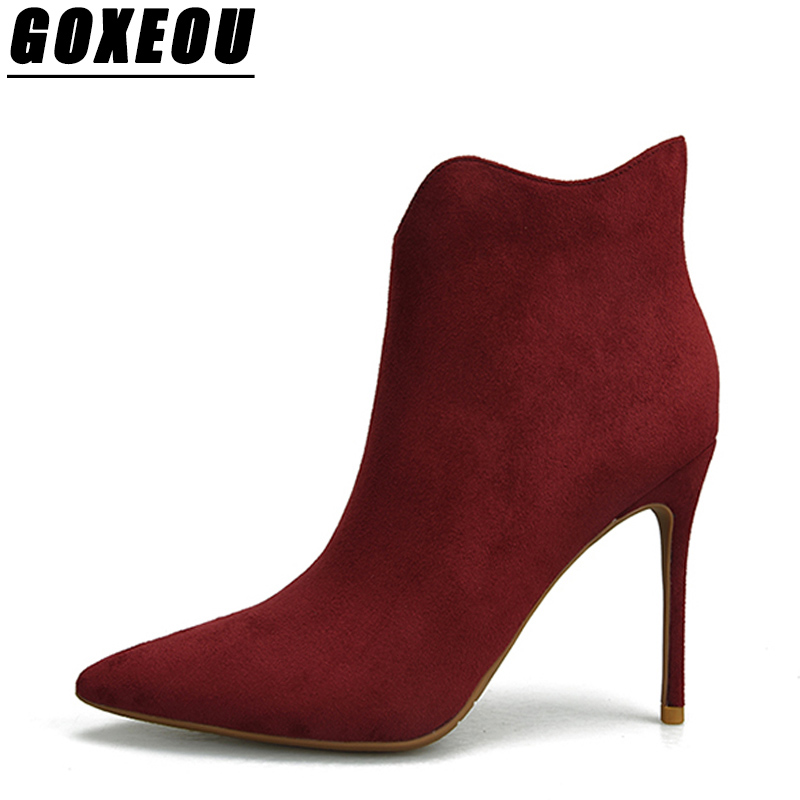 GOXEOU New Thin Heels Ladies Martin Boots Plus Size Sexy High Heels Ankle Boots Woman Shoes Brand Pointed Toe Women Winter Boots summer bling thin heels pumps pointed toe fashion sexy high heels boots 2016 new big size 41 42 43 pumps 20161217