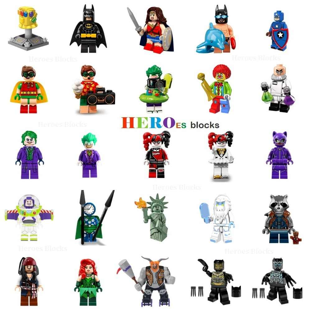 Super Heroes Building Blocks Joker batman wonder robin Jack Sparrow Thanos Infinity Gauntlet Figure Bricks Toy Compatible Legoed