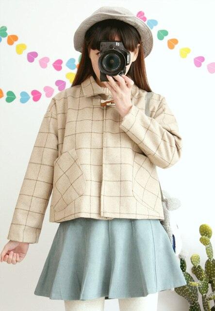 Японский harajuku цвет кофе большой плед пальто женщин куртки новая коллекция Рог кнопку шерстяное куртки осень-зима