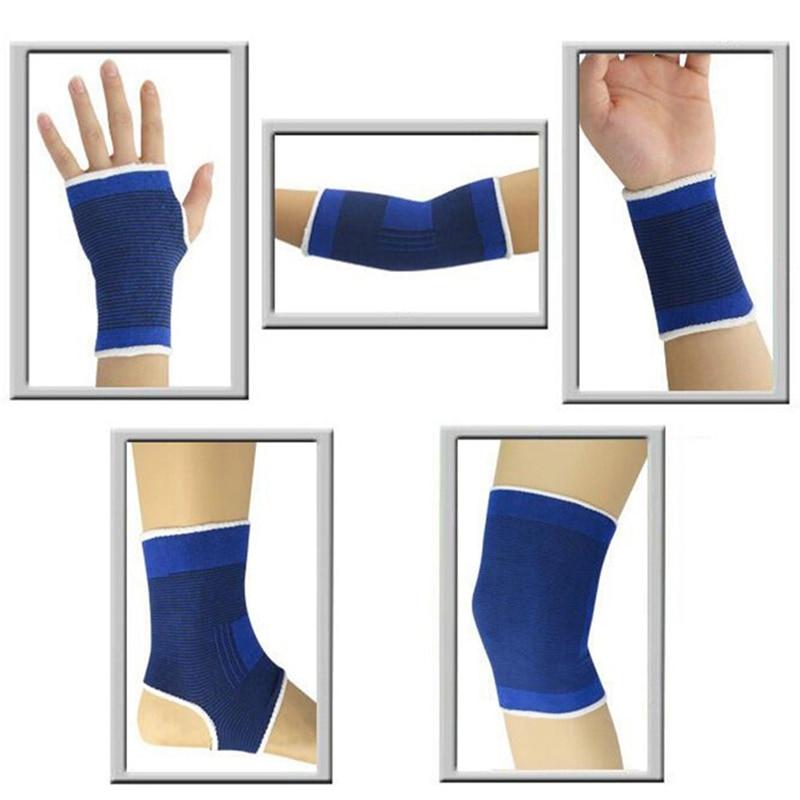 1 Paar Elastische Knie Blau Knie Pads Knie Unterstützung Klammer Bein Arthritis Verletzungen Gym Hülse Elastische Bandage Ankle Brace Unterstützung Niedriger Preis