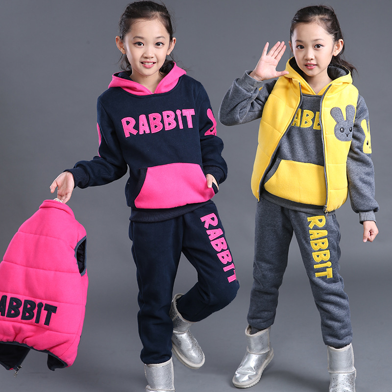 ФОТО Girls Clothing Sets Winter Lovely Rabbit Plus velvet thickening Coat+Vest+Pants Sport Suit Kids Clothes Toddler Winter Clothing