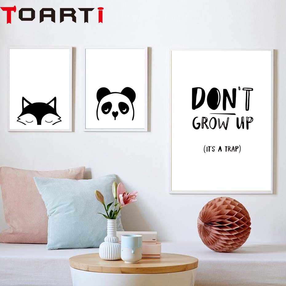 Kawaii Animal Fox Panda Poster Don'T Grow Up Quote Print Nordic Wall Art Picture For Kids Baby Room Cuadros Decoration No Frame