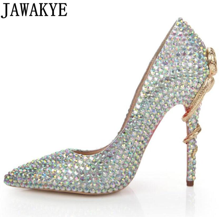 Здесь продается  Bling bing Gold metal snake high heels dress shoes women crystal pearled genuine leather pointed toe pumps chaussures femme  Обувь