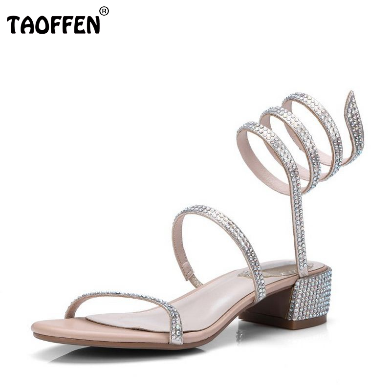 TAOFFEN Elegant Women Real Genuine Leather High Heel Sandals Women Beading Thick Heel Sandal Open Toe Summer Shoe Size 34-39 stylesowner elegant lady pumps sandal shoe sheepskin leather diamond buckle ankle strap summer women sandal shoe