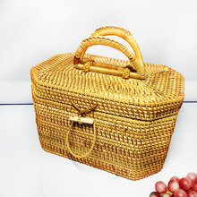 Vietnam rattan storage basket octagonal tea set box travel point portable factory direct sales