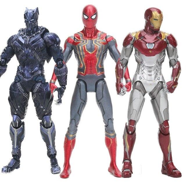 Figurine panther the avengers superhero spiderman homem Aranha Mk47 Articulações Móveis toy Figuras do Filme do Regresso A Casa
