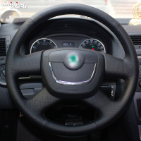 Shining wheat Black Steering Wheel Cover for Skoda Octavia Superb 2012 Fabia Skoda Octavia a 5 a5 2012 2013 Yeti 2009 2013