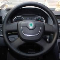 Shining wheat Black Steering Wheel Cover for Skoda Octavia Superb 2012 Fabia Skoda Octavia a 5 a5 2012 2013 Yeti 2009 2013