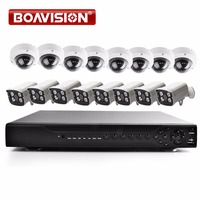 16CH 1080P AHD DVR KIT 8PCS Bullet 8PCS Dome AHD Camera 2MP Outdoor 36 Leds IR