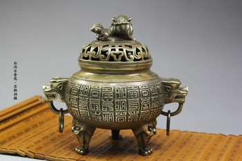 Antique bronze Pure Copper Old Brass incense burner smoked sweet fume furnace festive supplies religious buddhist antiques