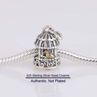 Fits Pandora Bracelet Silver 925 Jewelry Song Bird Charm with Gold Beads for Jewelry Making Fine Jewelry DIY Charms Bracelet