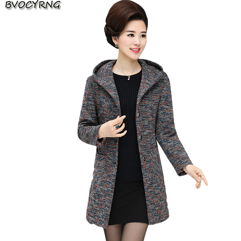 Autumn Winter Women Coat New Fashion 2017 Hooded Plus Size Medium Long Coat Middle aged And Old High end Woolen Cloth Parka Q714