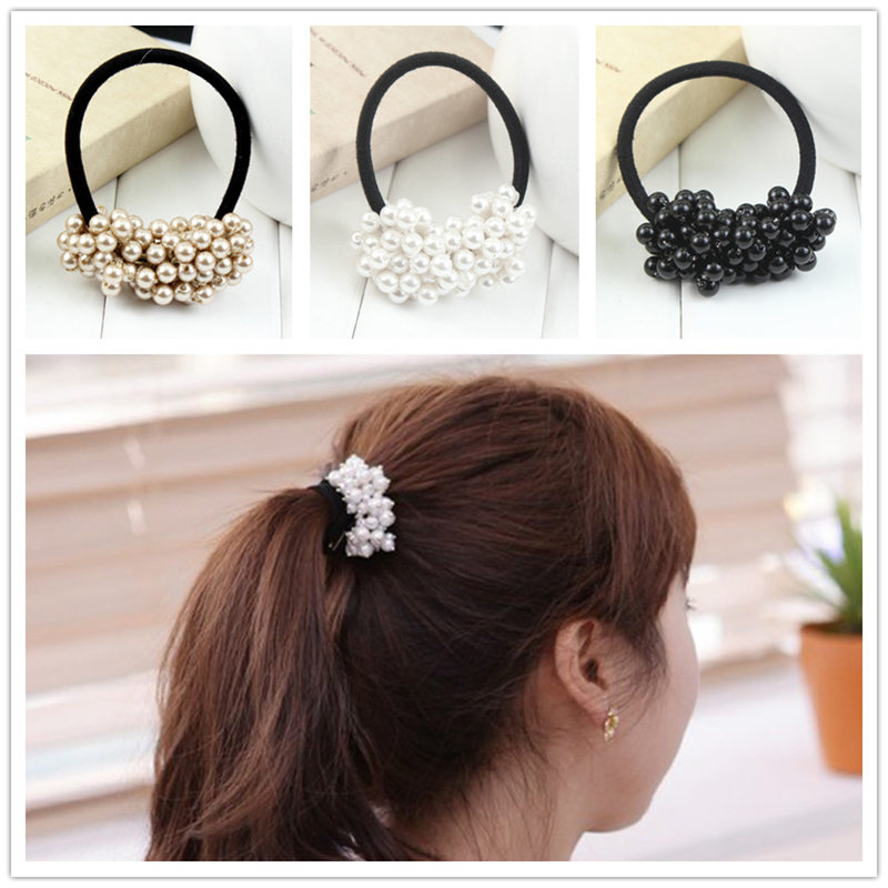 2017 Fashion faux pearl elastic hair rubber band hair accessories for women girls Ponytail Holder hair ties headdress headbands noble faux pearl flower elastic hair band for women