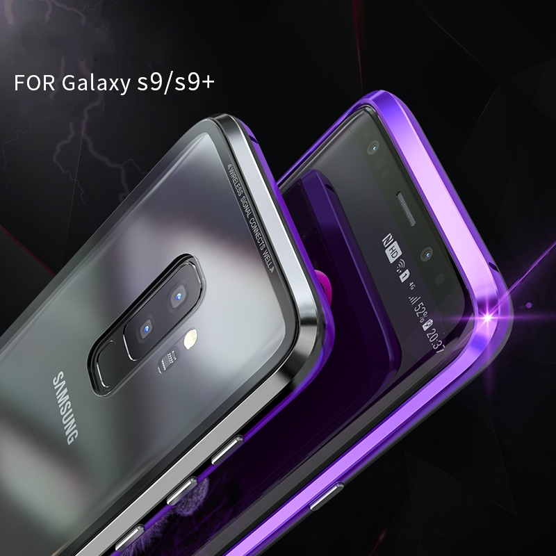 BOBYT Metal Aluminum Bumper For Samsung Galaxy S8 Plus S9Plus Magnetic Frame Toughened Glass Back Cover For Samsung Galaxy S8 S9 in Half wrapped Cases from Cellphones Telecommunications