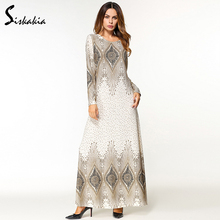 Siskakia ethnic Appliques design women Maxi dress round neck long sleeve Middle east muslim tunic Autumn malaysia Thailand dress все цены