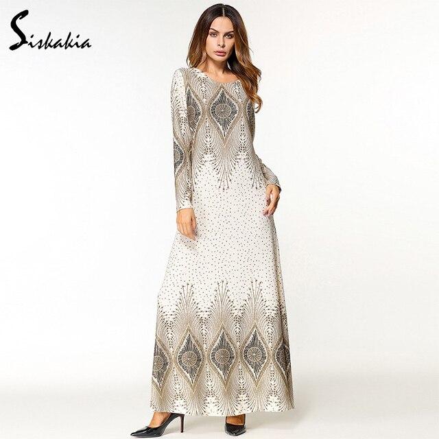Siskakia אתני אפליקציות עיצוב נשים מקסי שמלת עגול צוואר ארוך שרוול אמצע מזרח מוסלמי טוניקת סתיו מלזיה תאילנד שמלה