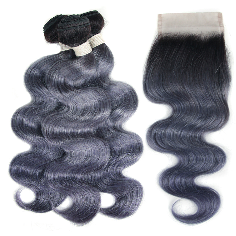 Joedir Brazilian Virgin Hair Body Wave WIth Closure Human Hair Weave Bundles With Lace Closure Grey Ombre Bundles With Closure