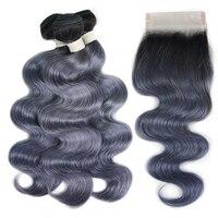 Joedir бразильские волос объемной волны с закрытием натуральные волосы Weave Связки с кружевом Закрытие Grey Ombre Связки с закрытием