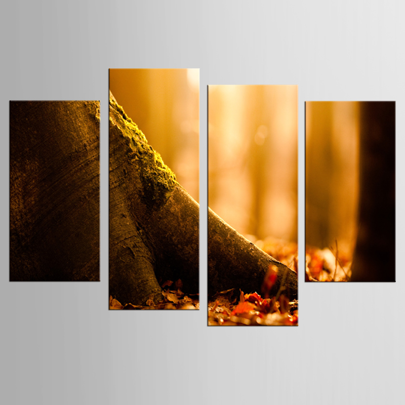 4 panely plátno malování HD tisk podzim žlutá javorový list strom obrázek tisk nástěnné malby domácí obývací pokoj dekorace malba