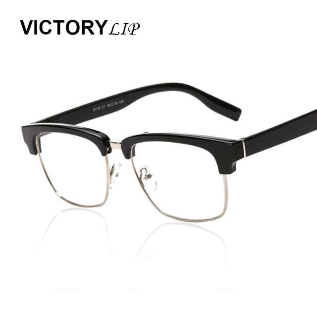 e628bcedf44 Online Shop VictoryLip Square Half Frame Brand Designer Cool Big Sun Glasses  Clear Lens Men Eyewear Women Fashion Female Optics Eyeglasses