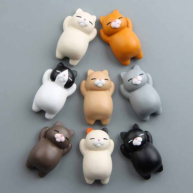 1PC Refrigerator Fat Cat Funny Cartoon Animals Cat Fridge Magnetic Sticker Refrigerator Holder Gift Home Decor Cute Magnets 2