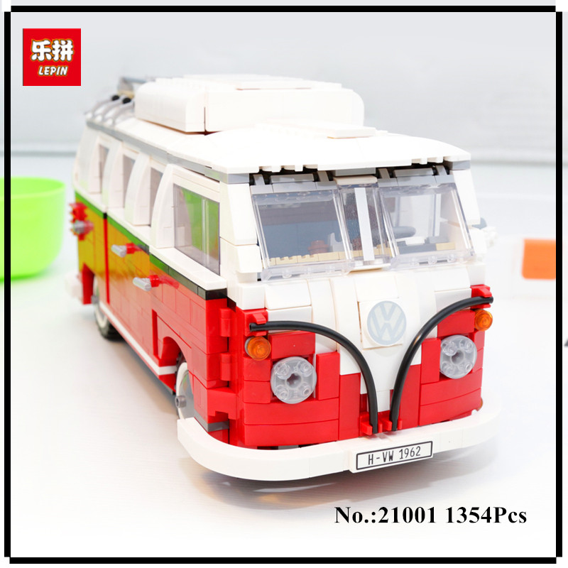 IN STOCK 21001 1354PCS Technic series the Volkswagen T1 Camper Van Model Assembling Building Blocks Compatible with Toy 10220 telecool led light building blocks toy only light set for creator series the t1 camper van model lepin 21001 and brand 10220