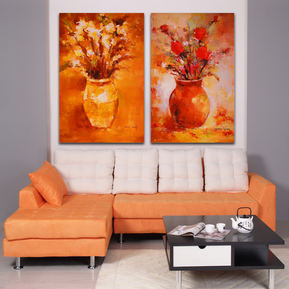 Modern Art Paintings For Living Room Aliexpresscom Buy 2 Piece Set Impression Flower Picture Vase