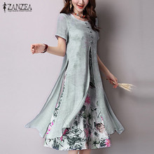 ZANZEA Women 2016 Vintage Chinese Style Maxi Long Dress O Neck Short Sleeve Two Layers Split Print Casual Loose Dress Vestidos