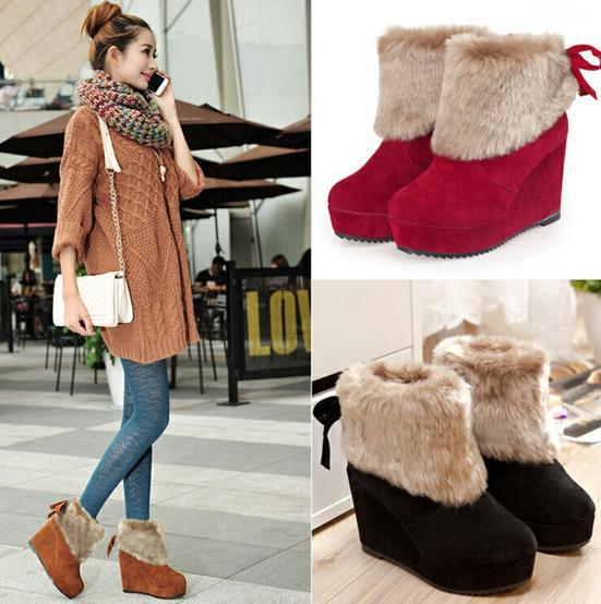 Nice new wedges round toe elevator snow font b boots b font high heeled ankle font