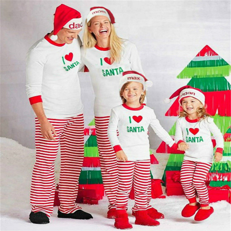 European and American Christmas Parentage Suit Pajamas Two Pieces Leisure Home Clothes Funny Stitch Kid Cute Onesie Sleepwear