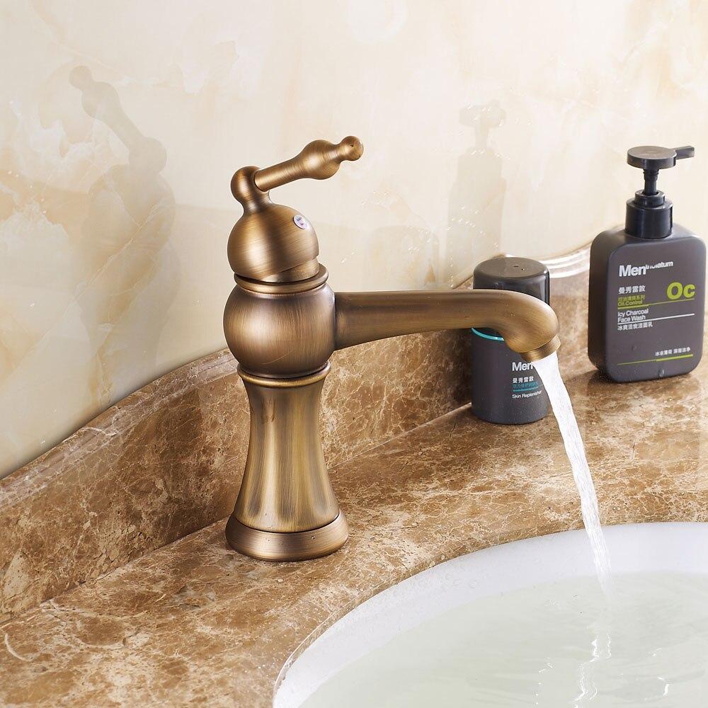Promotion Antique Bronze Single Handle Bathroom Sink Faucet Mixer Tap 1 Handle
