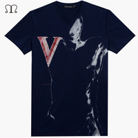 2017 Summer T Shirts Men V Neck Printed Camisetas Hombre Brand Clothing Men Tops Tees Shirts
