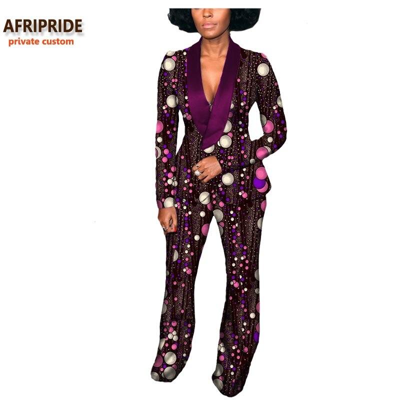Kadın Giyim'ten Kadın Setleri'de 2019 Sonbahar afrika kadın takım elbise AFRIPRIDE özel özel tam kollu V Yaka üst + uzun pantolon % 100% saf balmumu pamuk artı boyutu A722637'da  Grup 1