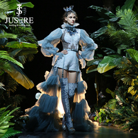 Jusere Unique Design Hign Crumpled Neck Hand Made Appliques Puffy Lattern Sleeves Short Pants Boots Tiered Evening Dress 2018