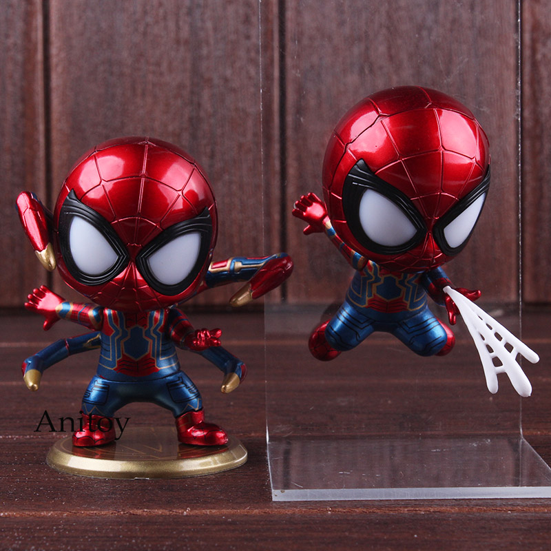 Avengers Infinity War Iron Spider Bobble Head Doll with LED Light PVC Spiderman Action Figure Marvel Collectible Model Toy 9cm 1