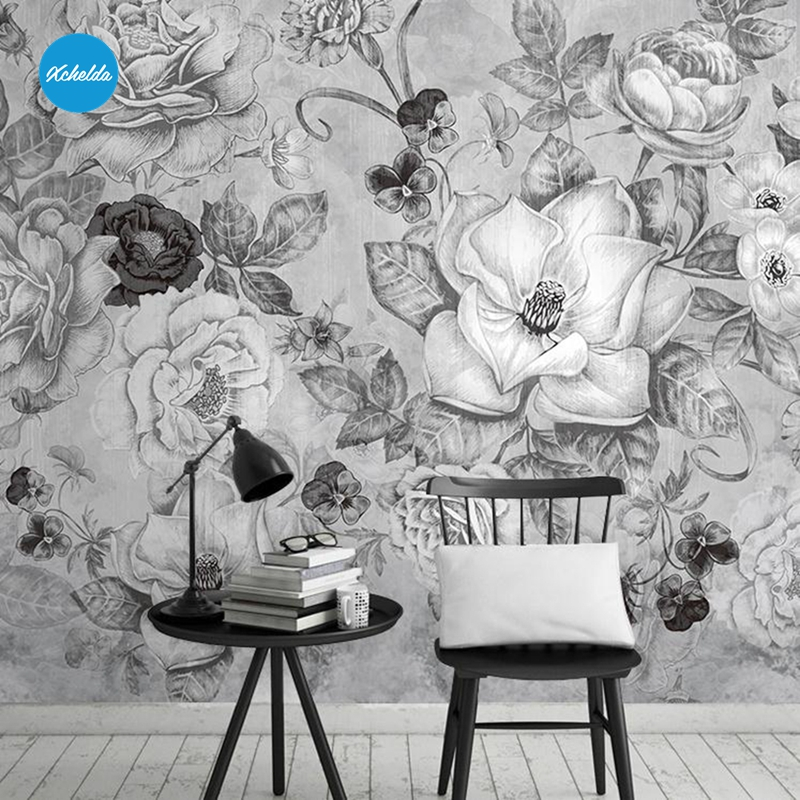 XCHELDA Sketch Photo Wall Mural 3D Wallpaper Papel De Parede  Living Room Tv Backdrop Wall Paper of Black and White Flowers custom 3d photo wallpaper 3d stereoscopic green forest mural for living room bedroom tv backdrop waterproof papel de parede
