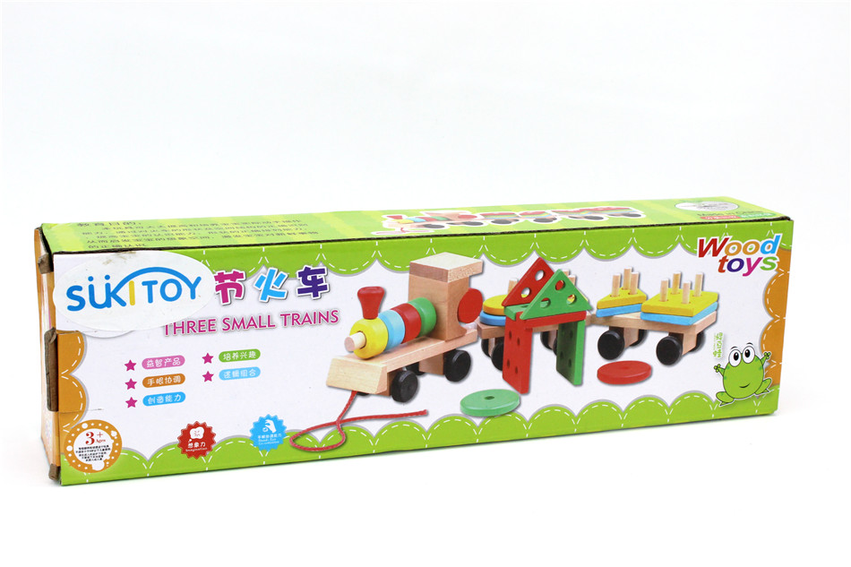 SUKIToy classic wooden models building toys blocks train for children boys Montessori game for kids gift shape matching 10