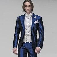 Блестящие итальянские Темно синие Атлас двубортный Для мужчин костюмы Slim Fit Формальные нежный Для мужчин Нарядные Костюмы для свадьбы для Д