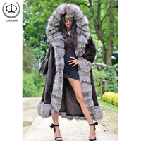 Fashion Winter Coats For Women Full Pelt Mink Fur Coat Luxurious Silver Fox Fur Hoods & Cuff Long Mink Jackets Warm Tops MKW 249