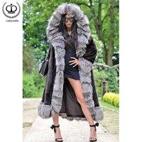 Fashion Winter Coats For Women Full Pelt Mink Fur Coat Luxurious Silver Fox Fur Hoods & Cuff Long Mink Jackets Warm Tops MKW 249