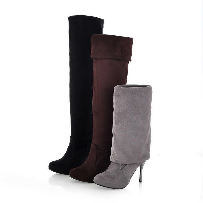 2019 sıcak kadın botları kış moda diz uzun çizmeler kadın yüksek topuk çizmeler bayan kış yüksek çizmeler kürk bayan ayakkabıları