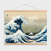 Wall Art Japan Style The great wave off Kanagawa Wall Art Pictures Canvas painting Wooden Scroll Paintings For Living Room