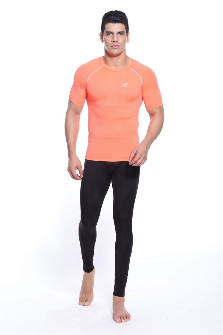2018 Orange O-Neck Mens Tees Bowling Shirt Orange Compression Wear For Fitness Gym Training Bodybuilding Size S-4xl