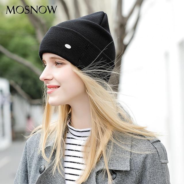 Hat Female Thicken Cotton Beanie High Quality 2018 New Brand Acrylic Knitted Cap Winter Women's Hats Skullies Beanies Bonnet