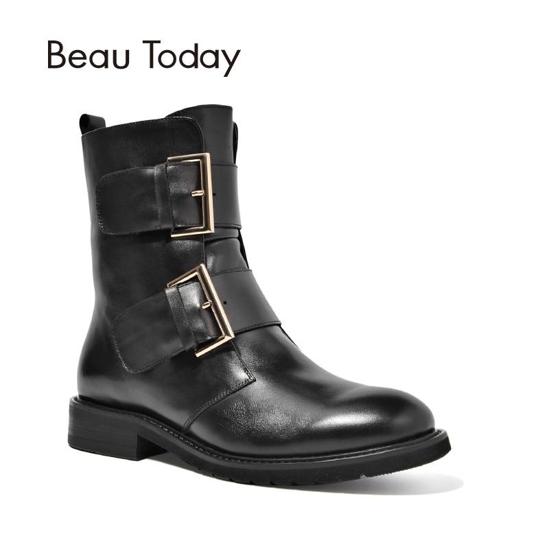 BeauToday botas de motocicleta mujeres hebillas de marca de calidad piel de becerro hecho a mano cremallera señora zapatos 03071-in Botas a media pierna from zapatos    1
