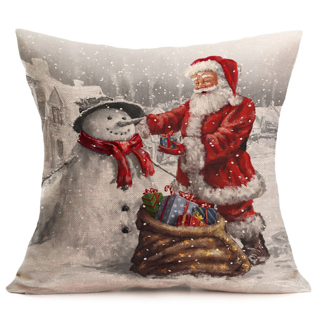 Buon Natale Cuscino Custodie di Cotone di Tela di Santa Fodere per Cuscini s Car